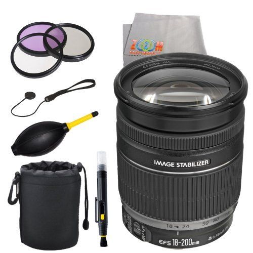 #2: Canon EF-S 18-200mm f/3.5-5.6 IS Standard Zoom Lens for Canon DSLR Cameras (White Box)  Deluxe Accessory Kit Canon 18 200mm 3 5 5 6 Standard Accessory is a popular choice from the most selling products online in Photo  category in Canada. Click below to see its Availability and Price in YOUR country.