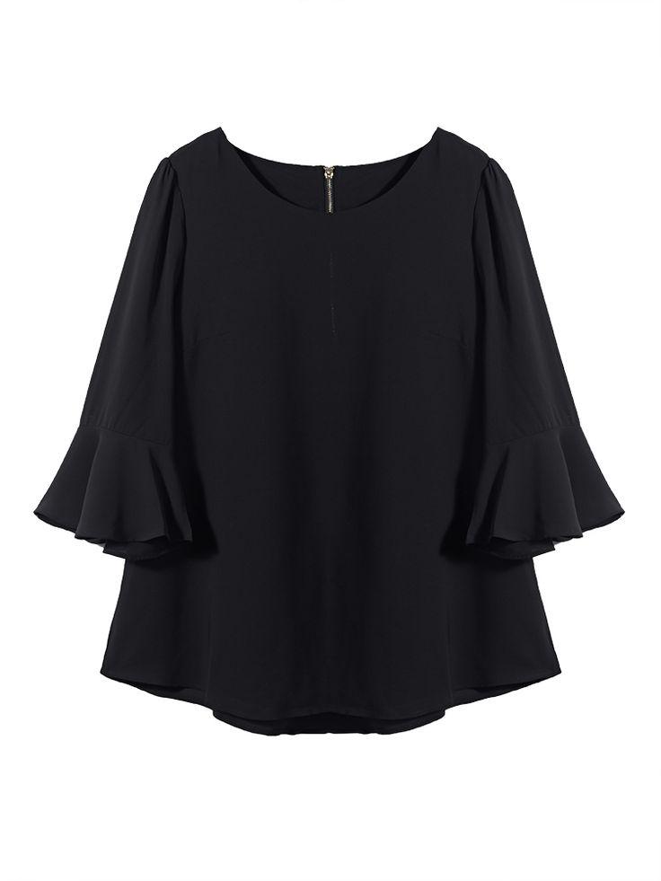 Only US$11.61 , shop Plus Size Women Ruffles Sleeve O Neck Black Chiffon Blouse…