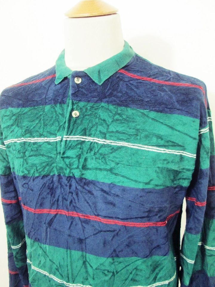 Vintage Velour 90s Indie Mod Green Red Multi Stripe Polo Jumper Sweater M/L