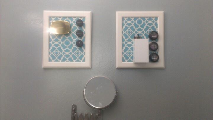 Pinspired! Magnetic makeup frame. Frames: Ikea, sheet metal: HDepot & fabric: clearance section @Joann's! Success!