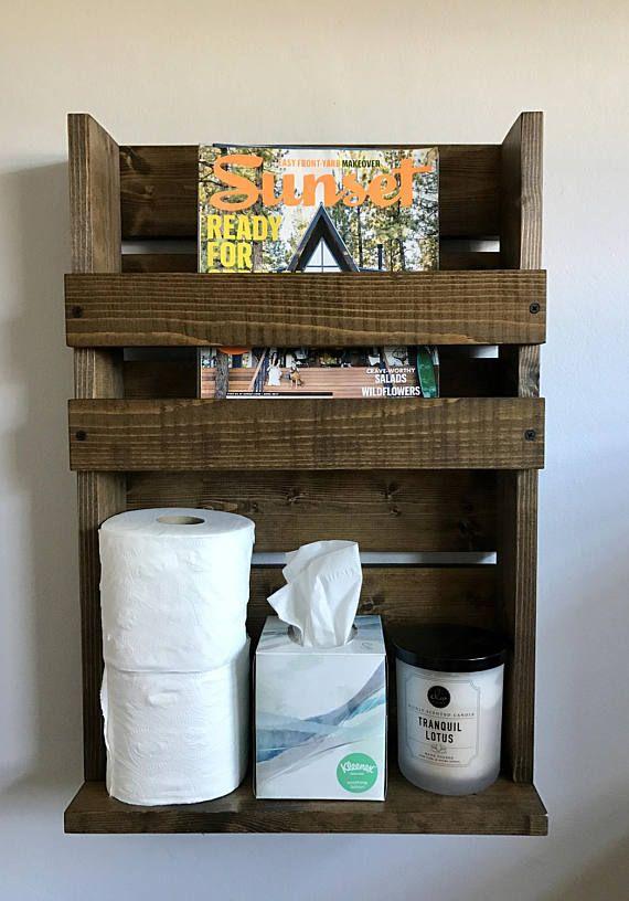 Rustic magazine rack with storage Bathroom storage Magazine