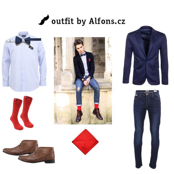 Pánský outfit. Blazer, motýlek a kapesníček. #men #menstyle #menfashion #blazer #suit #bowtie #pocket_square