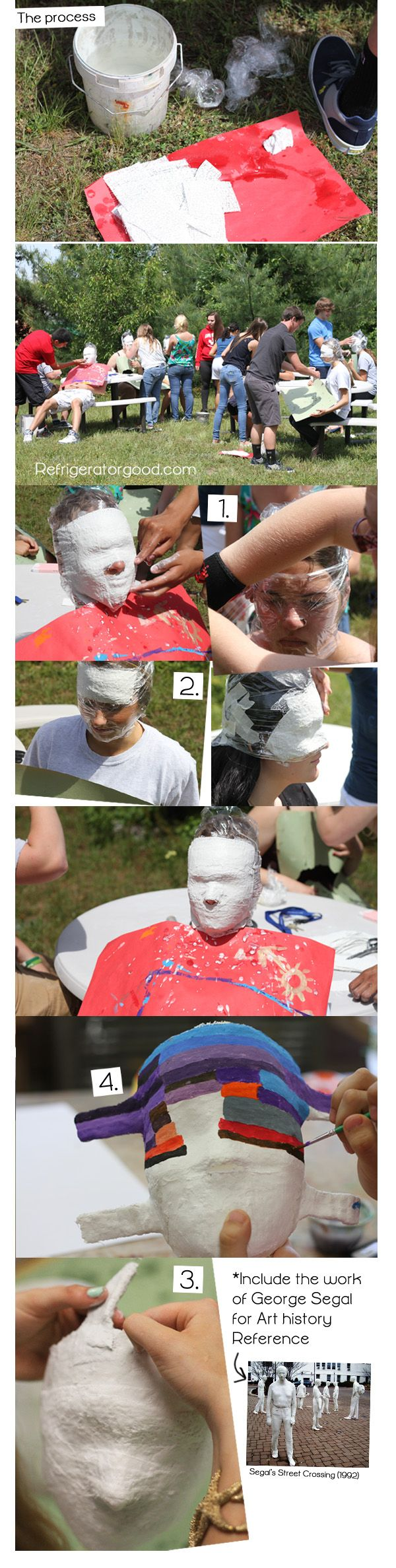 High School Art lesson// George Segal inspired research masks// Art I