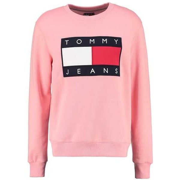 TOMMY JEANS 90S Sweatshirt pink (694095 PYG) ❤ liked on Polyvore featuring tops, hoodies, sweatshirts, tommy hilfiger sweatshirt, tommy hilfiger, pink sweatshirts, red sweatshirt and tommy hilfiger top