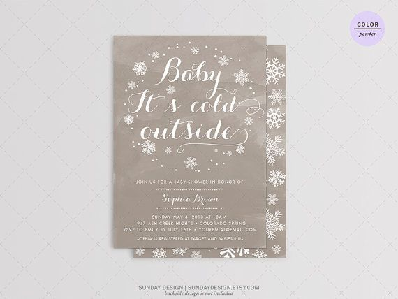 Baby It's Cold Outside Baby Shower Invitation Card by SundayDesign