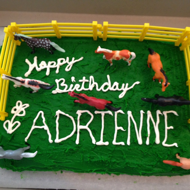 Horse party cake Homemade cake decorated with plastic fence and 8 pack of inexpensive horses. Cost= we already has the fences, pack of horses was less than $5