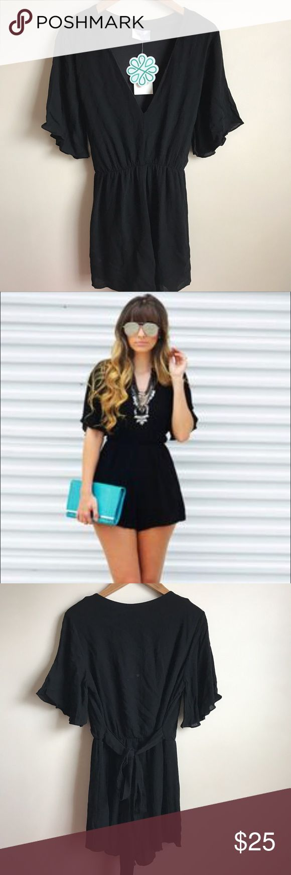 Shop Hope's Black Romper New with tags... Flutter sleeves... Ties in the back... Deep v-neckline... Lined... Elastic waist.., Rayon with polyester lining embrace los angeles Pants Jumpsuits & Rompers