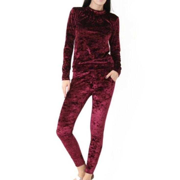 Fashion Velvet Women Clothing Set Long Sleeve Slim Joggers Sweatshirt Suit Ladies Lounge Tracksuit