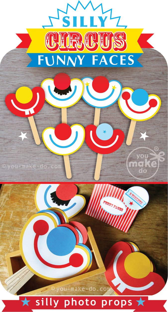 Use these photo booth props, to add fun and silliness, to any party theme! These party printables add laughter to a carnival.