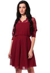 The Vanca 3/4Th Sleeve Self Pattern Maroon Dress Online Shopping Store