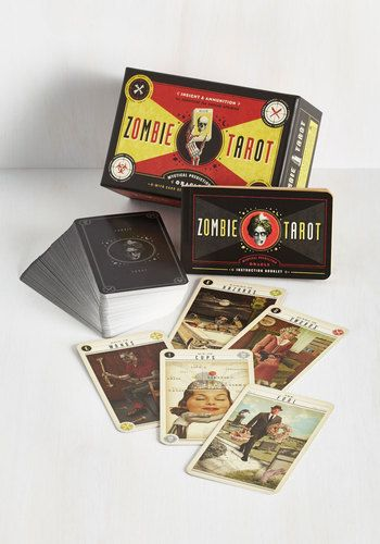 Zombie Tarot. Spark a captivating conversation with this unique set of tarot cards on display! #gold #prom #modcloth