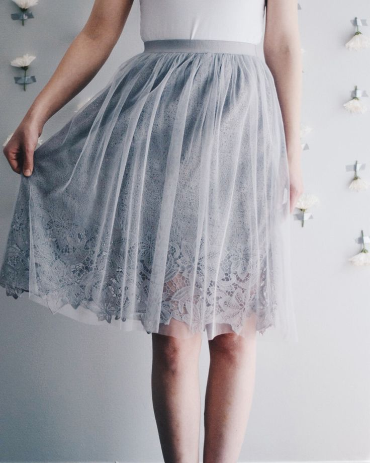 "Beautiful gray tulle skirt with lace underlay. Elastic waistband. Waist: small: 26"", medium: 28"", large: 30"" + elastic waist stretch Full Length: small- 26"", medium- 26"", large-27"" 