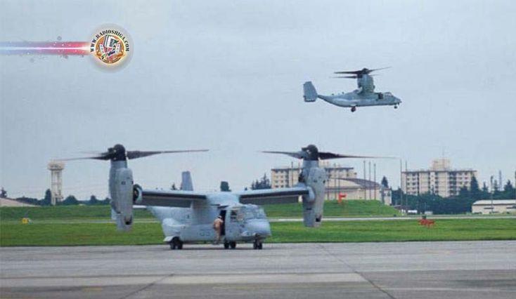 Aviões Osprey dos EUA chegam à base da SDF em Kisarazu. Autoridades de defesa japonesas mediram os níveis de ruído dos aviões Osprey...