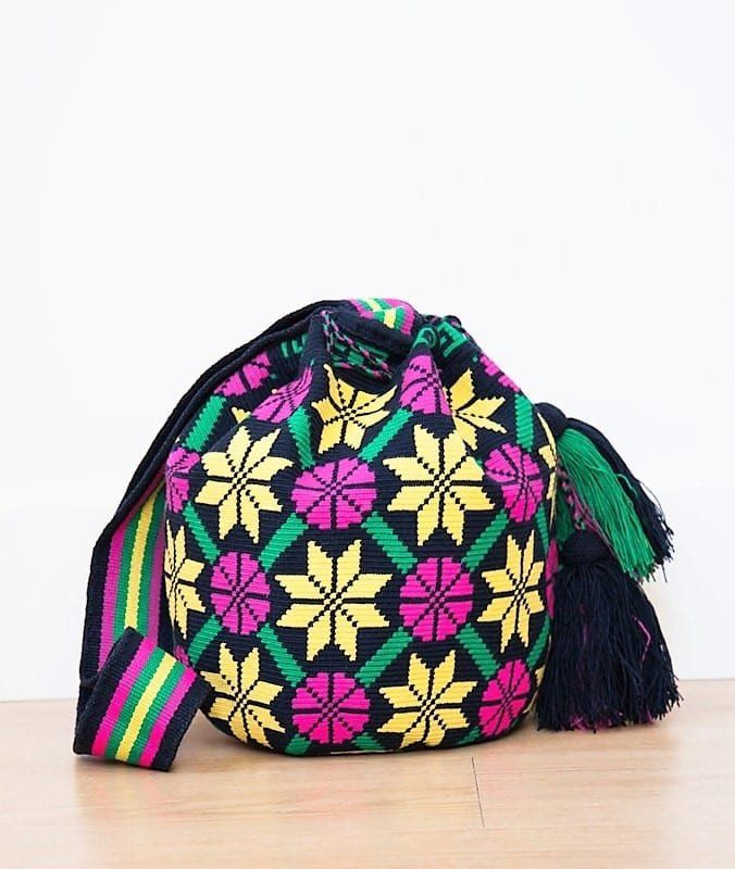 Wayuu mochila bag malambo navy pink