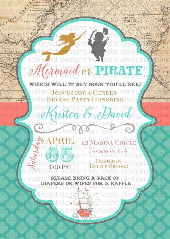 mermaid pirate gender reveal theme twin baby by katiedidesigns