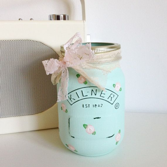 Hand painted Kilner jar distressed and finished with di TillySage