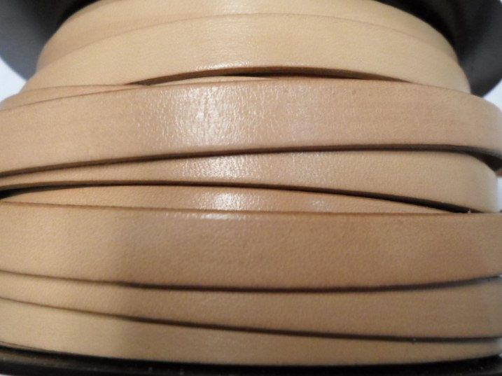 """24"""" Flat Leather Cord 10mm, Natural with Natural Trim, KFL-10R by KallyCo on Etsy https://www.etsy.com/listing/218188714/24-flat-leather-cord-10mm-natural-with"""