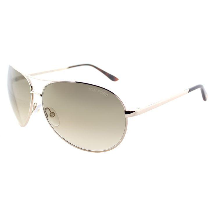 Tom Ford Aviator TF 35 28 28G Unisex Shiny Rose Frame Brown Mirror Lens Sunglasses