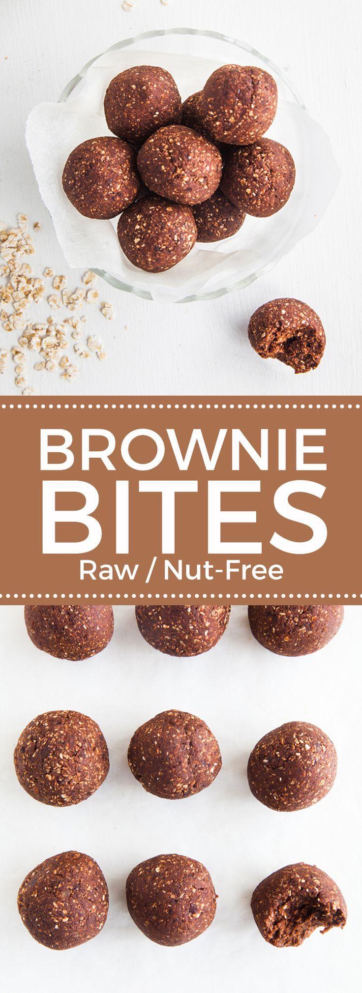 Raw Chocolate Brownie Bites (Low fat & nut-free!)