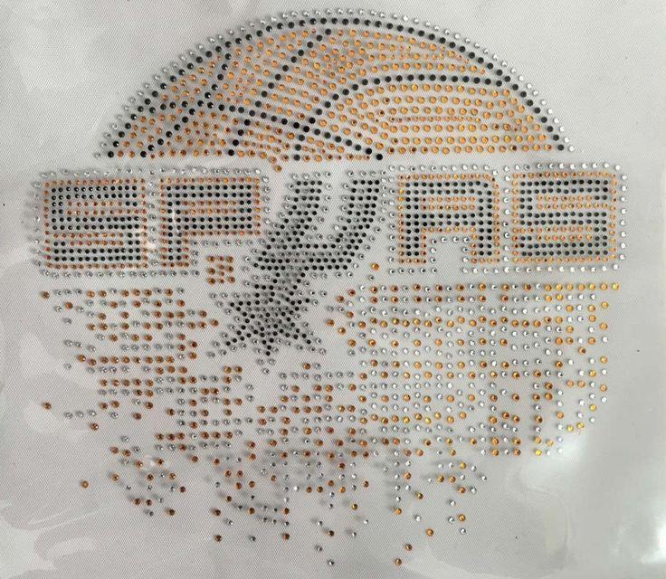Spurs Basketball Iron On Rhinestone Design For Shirt Strass Transfer