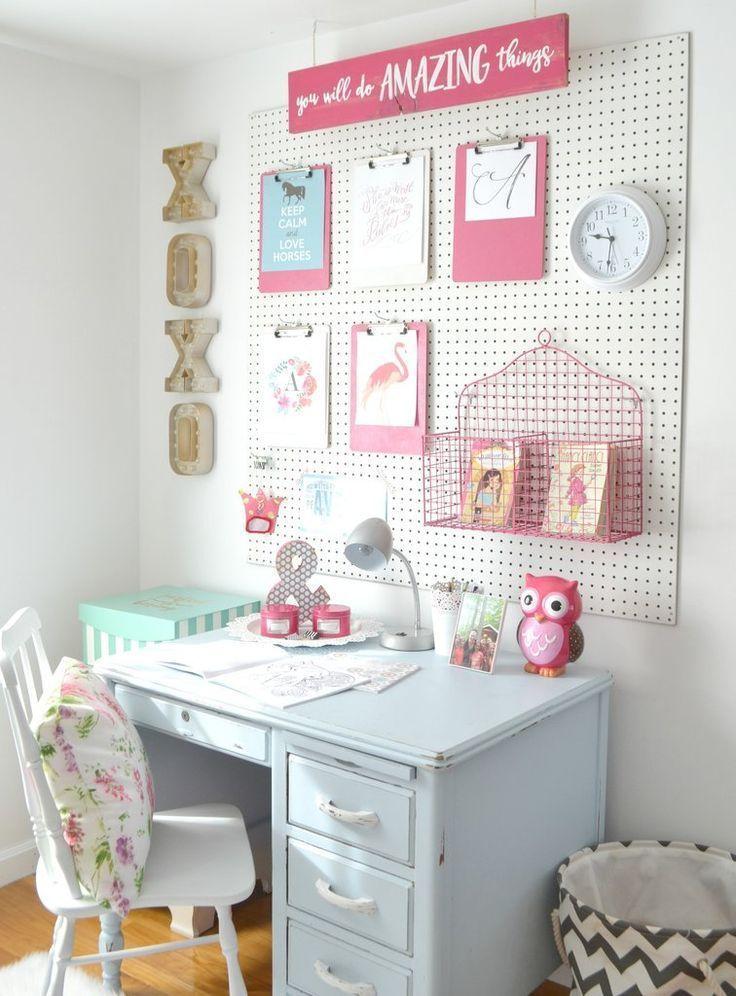 A peg board for the girls\' room | Big girl room | Girl desk ...