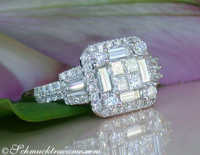 Brillanten Ring mit Princess- & Baguette Diamanten