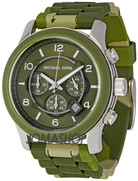 Michael Kors Green Camouflage Chronograph Mens Watch MK8168