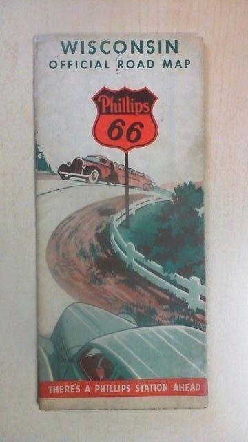 1938 Phillips 66 Road Map of Wisconsin TU6