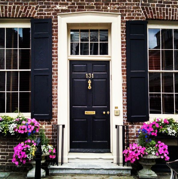 Black Door on Red Brick - Our Favorite Charleston Front Doors                                                                                                                                                      More
