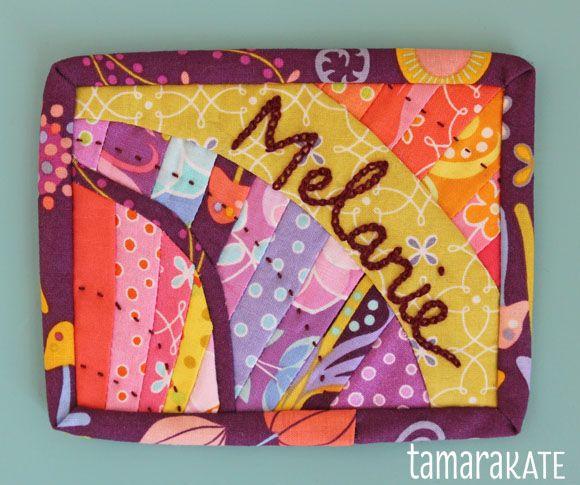 quilted name badge. Tamara Kate