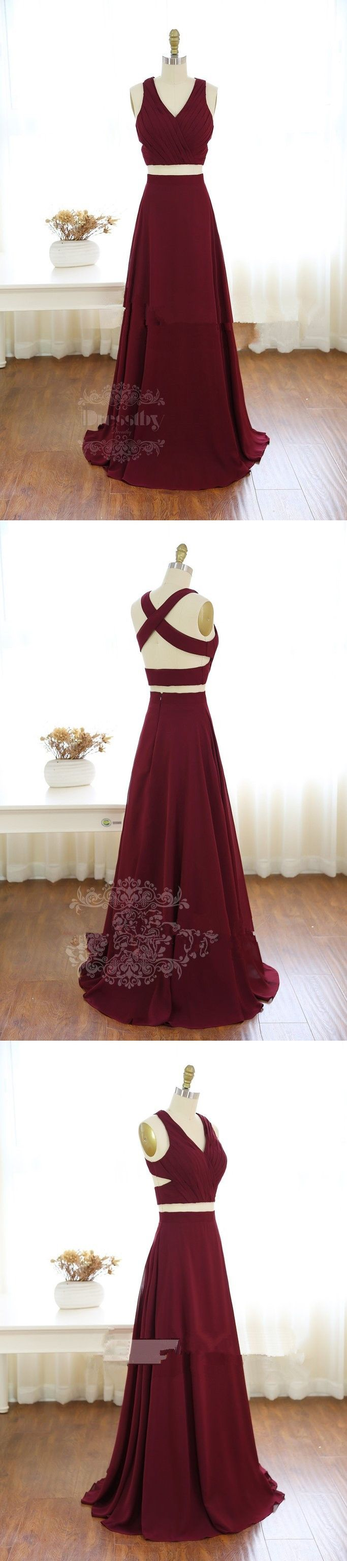 prom dresses, two piece prom dresses, 2017 long prom dresses, burgundy prom dresses, burgundy long evening dress