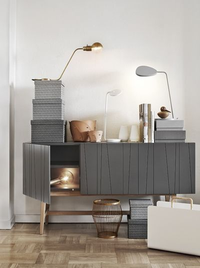 Modern sideboard. Grey tone. #interiordesign #casegoods #entrywayideas room inspiration, modern home décor, interior design ideas See more at http://www.brabbu.com/en/inspiration-and-ideas/category/interior-design/living-room