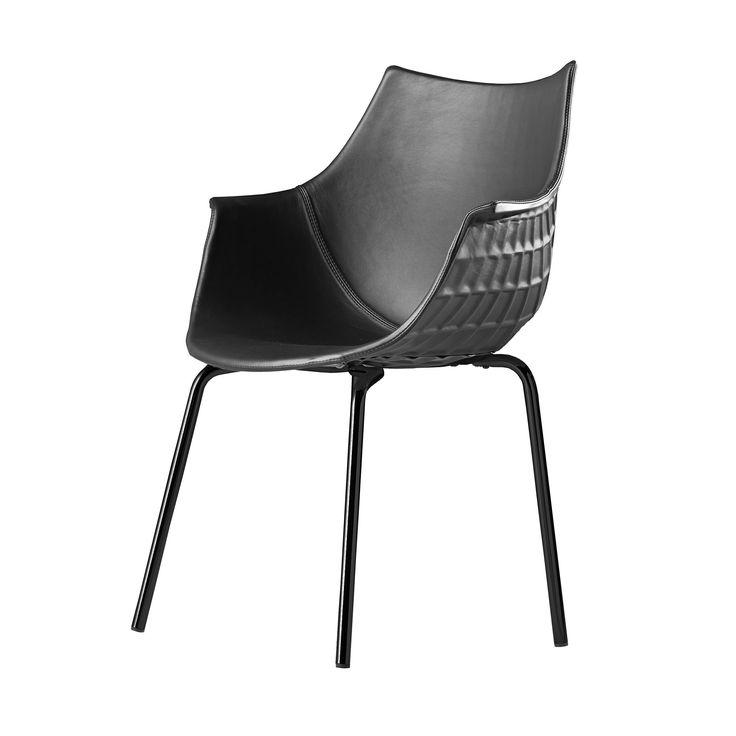 Meridiana Stuhl mit 4 Beinen in Leder schwarz-schwarz -  - A050317.001 Jetzt bestellen unter: http://www.woonio.de/produkt/meridiana-stuhl-mit-4-beinen-in-leder-schwarz-schwarz-a050317-001/