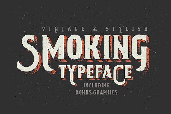 Smoking typeface + Illustration by Gleb Guralnyk on @creativemarket