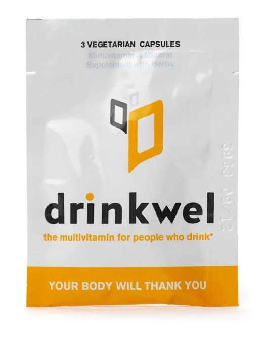 Drinkwel for Hangovers, Nutrient Replenishment & Liver Support (4 To-Go Packets with Organic Milk Thistle, N-acetyl Cysteine, Alpha Lipoic Acid, and DHM)