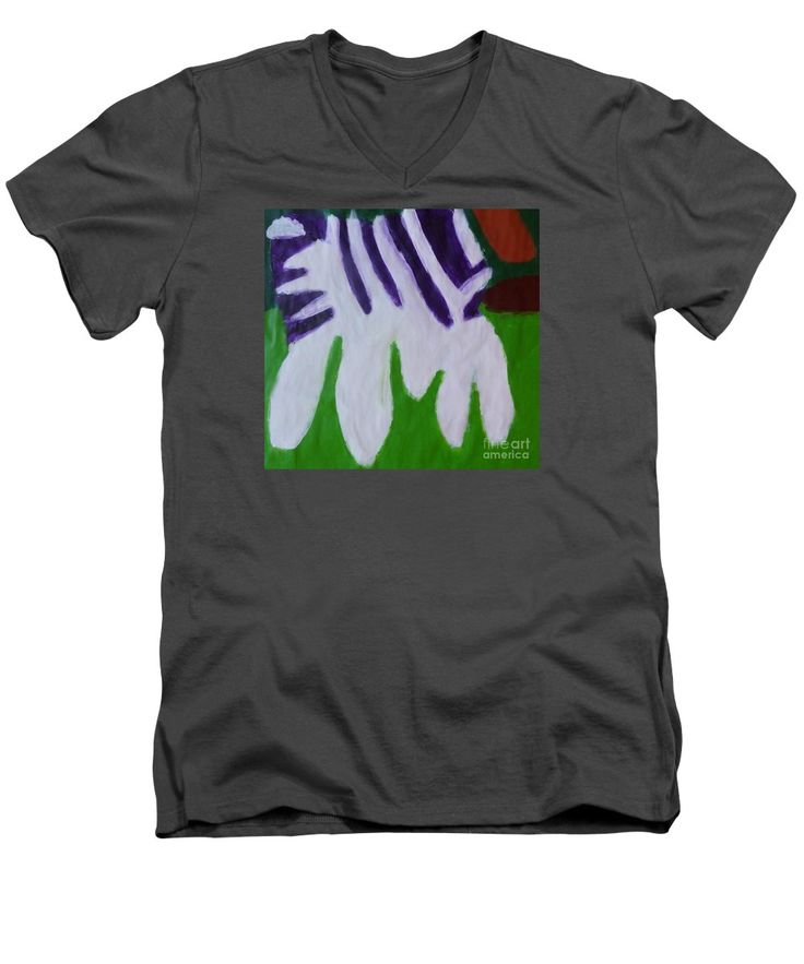 Patrick Francis V-Neck T-Shirt featuring the painting Zebra 2014 by Patrick Francis