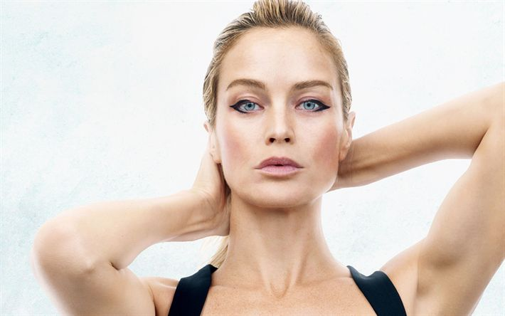 Download wallpapers Carolyn Murphy, portrait, american top model, make-up, black dress, blonde, beautiful woman