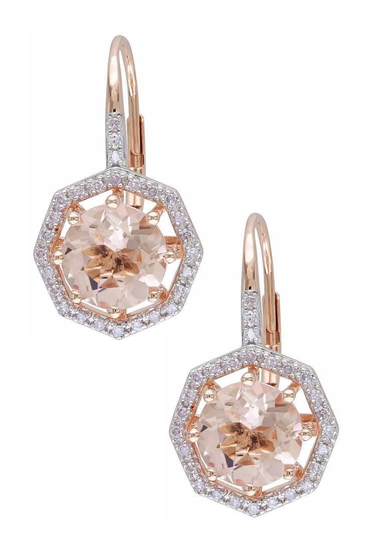 10K Rose Gold Diamond Octagon Halo Morganite Earrings - 0.20 ctw