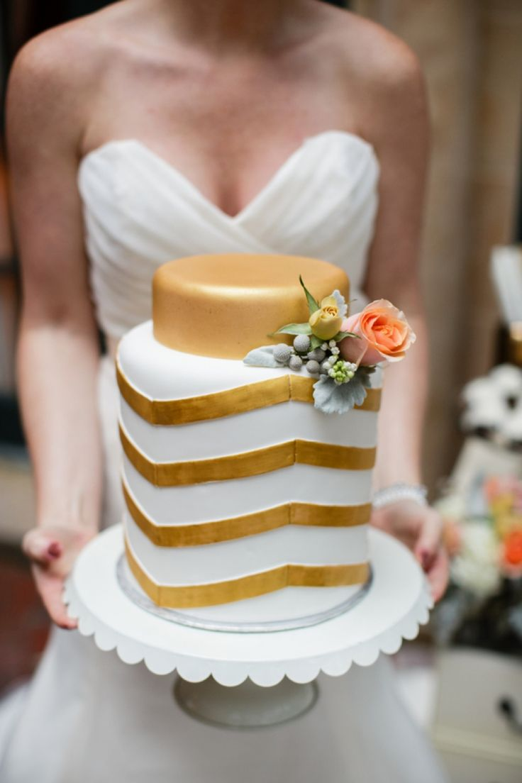 Gold chevron wedding cake // photo by Erin Nicole Photography