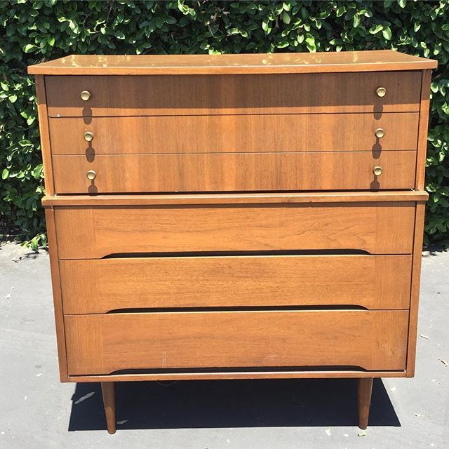 Mid Century Modern Five 5 Drawer Highboy Dresser Tall Chest Of Drawers By Harmony House Original Dark Wa Dark Walnut Finish Harmony House Mid Century Modern