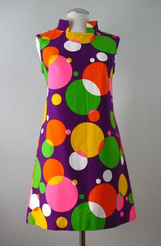 Vintage 60s Dress Mod Pop Art Cotton Shift Small bust 36 at Couture Allure Vintage Clothing
