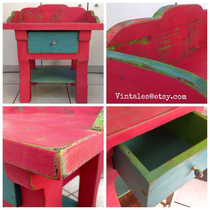 Renovating a night table with chalk paint. Pink red, turquoise blue and fresh green layers