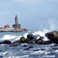 Kanyakumari India ~ The scenic southern most tip of India BUT the devotees use the promanade as a loo ...with an on shore wind the smell was awfull ...left very quickly even though it was a magical place