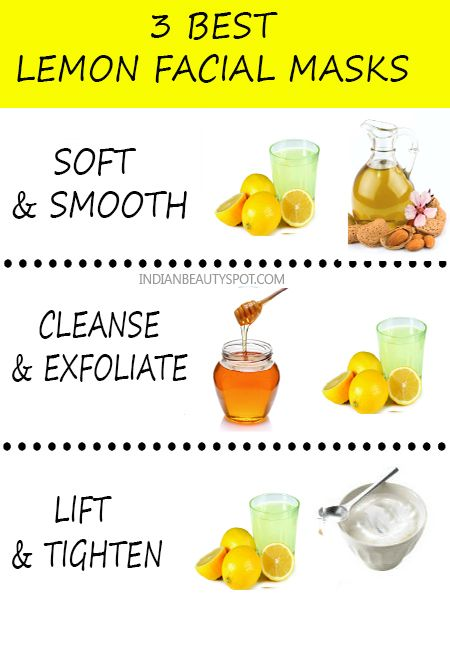 3 lemon-facial-masks. QUICK, DIY FACIAL FOR CLEAR SKIN. Soft & Smooth – Lemon-Olive oil Face Mask: Create a facial that both exfoliates and moisturizes by mixing the juice from 1 lemon with 1/4 cup olive oil. Apply the mask on the skin and rinse off after 10-15mins. Olive oil is rich in anti oxidants that will moisturize while lemon will brighten the skin. 10 awesome beauty uses of lemon for skin, hair and nails >> Cleanse & exfoliate – Lemon-Honey Mask: Combine a tbsp of honey and lemon in…
