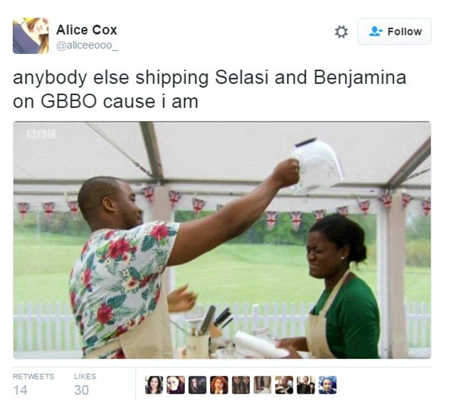Alice Cox asked her followers: 'Anyone else shipping Selasi and Benjamina on GBBO cause I ...