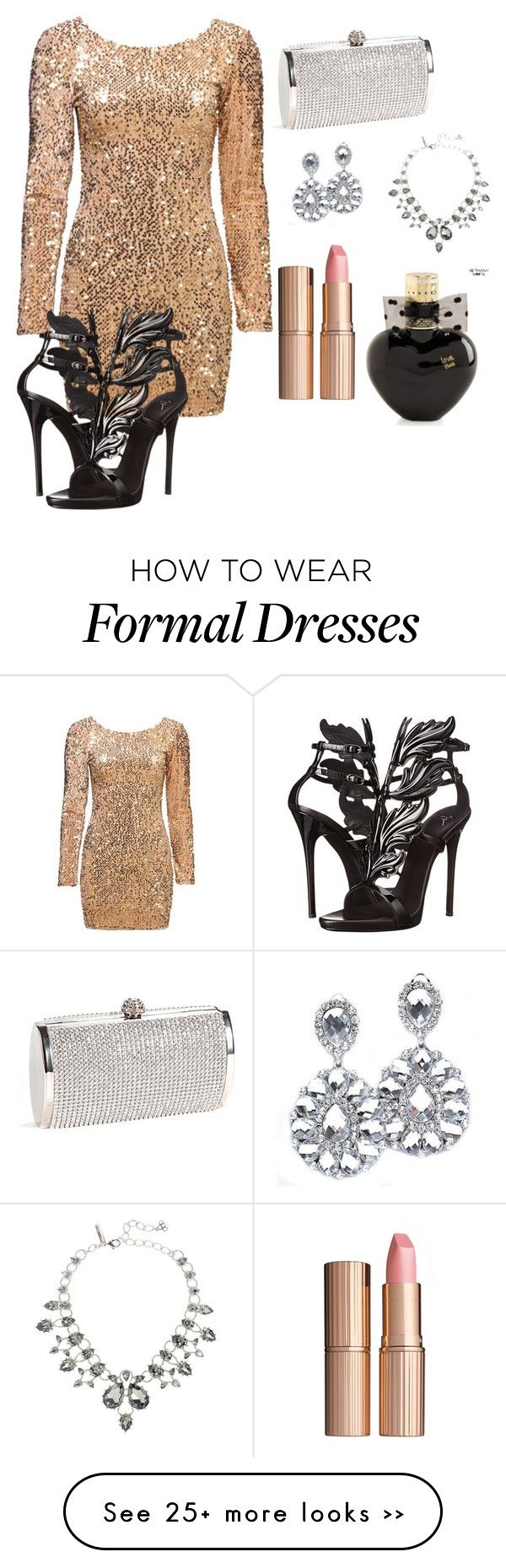 """Night on the town"" by emilystoneman on Polyvore featuring Giuseppe Zanotti, Oscar de la Renta, Charlotte Tilbury and Aéropostale"
