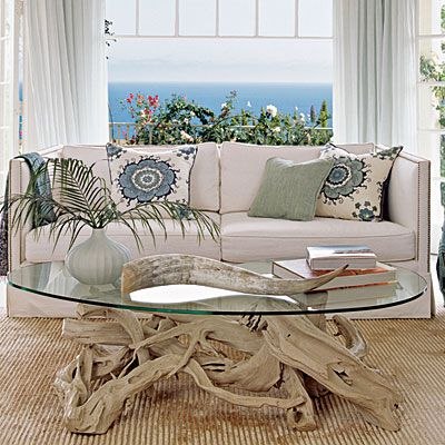 Driftwood Dreamy - Seashell Decor - Coastal Living - love the interesting coffee table and the pillows!