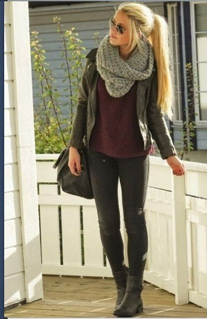 I kind of wore this today. But with floral sneaks and no boots. Grey scarf in car. True story.