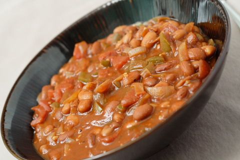 Totally #vegan pinto bean chili with rich, full flavor from dried chilies and a hint of cocoa powder.