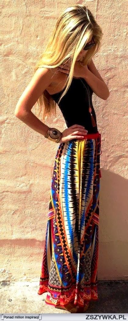 Color Spill Maxi Skirt with Black Blouse Love the colors